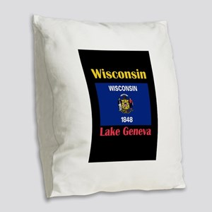 Lake Geneva Wisconsin Burlap Throw Pillow