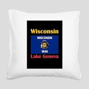 Lake Geneva Wisconsin Square Canvas Pillow