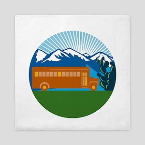 School Bus Vintage Cactus Mountains Circle Retro Q