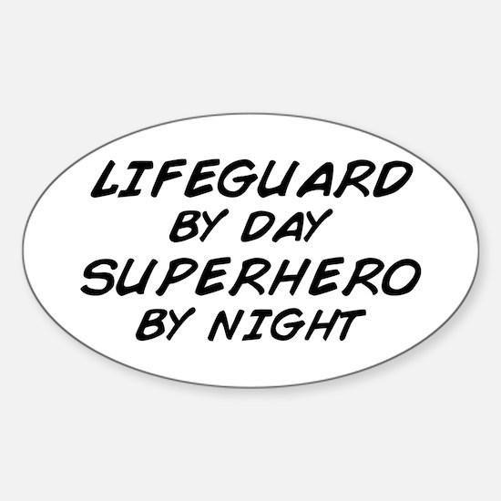 Lifeguard Superhero by Night Oval Decal