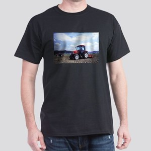 Red Tractor Cloudy Sky Dark T-Shirt