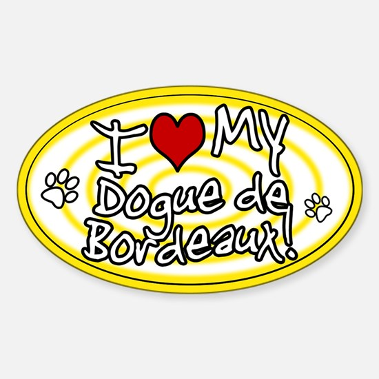 Hypno I Love My Dogue de Bordeaux Sticker Ylw