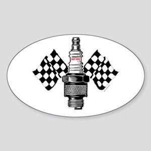 SPARK PLUG and FLAGS Oval Sticker