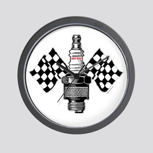 SPARK PLUG and FLAGS Wall Clock