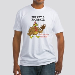 Turkey and Football Thanksgiving Fitted T-Shirt