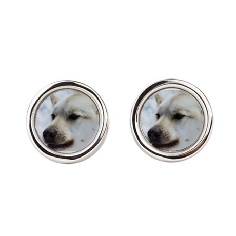 i love dog Round Cufflinks