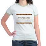 Too Fond of Books Jr. Ringer T-Shirt