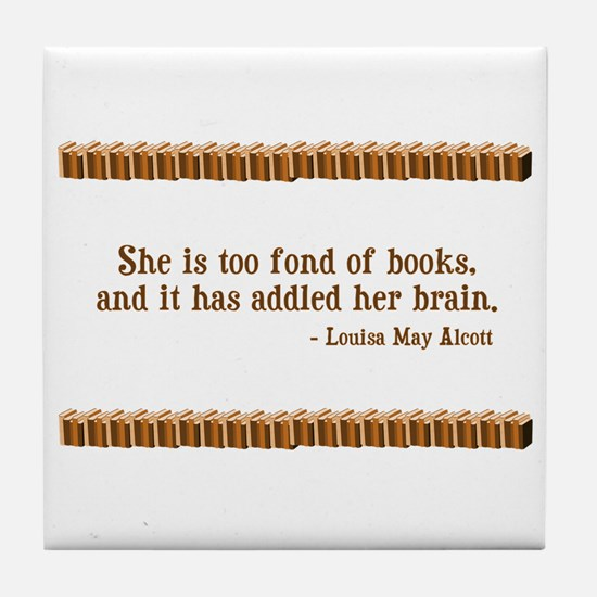Too Fond of Books Tile Coaster