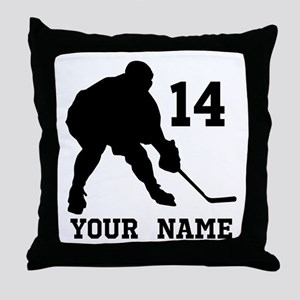 Custom Hockey Player Gift Throw Pillow
