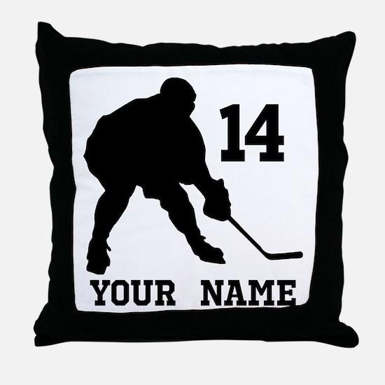 Custom Hockey Player Gift Throw Pillow