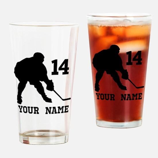 Custom Hockey Player Gift Drinking Glass