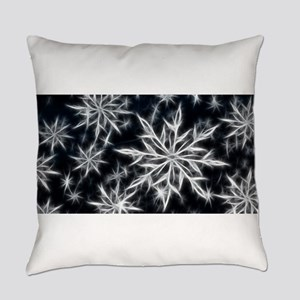 Neon Electric Snowflakes Everyday Pillow