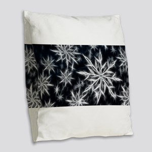 Neon Electric Snowflakes Burlap Throw Pillow