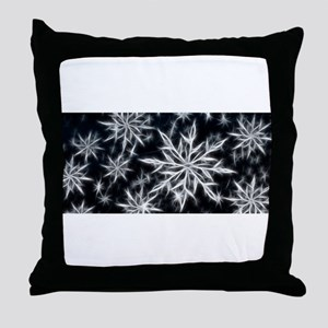 Neon Electric Snowflakes Throw Pillow