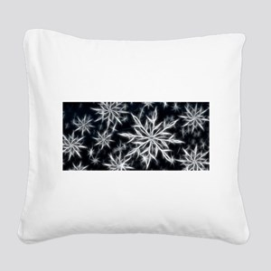Neon Electric Snowflakes Square Canvas Pillow