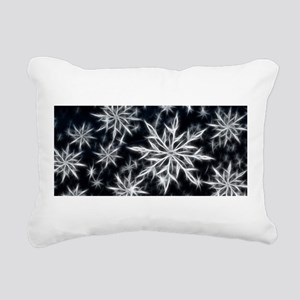 Neon Electric Snowflakes Rectangular Canvas Pillow