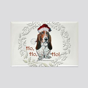 Basset Hound Christmas Rectangle Magnet