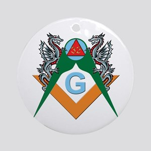 Masons 32nd Degree with Dragons Ornament (Round)