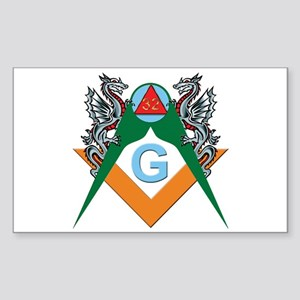 Masons 32nd Degree with Dragons Sticker (Rectangul