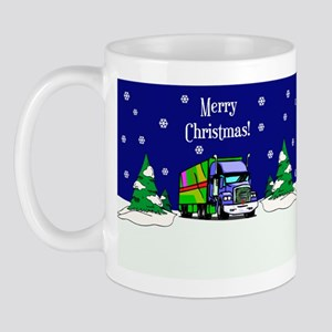 Semi Truck Merry Christmas Mug