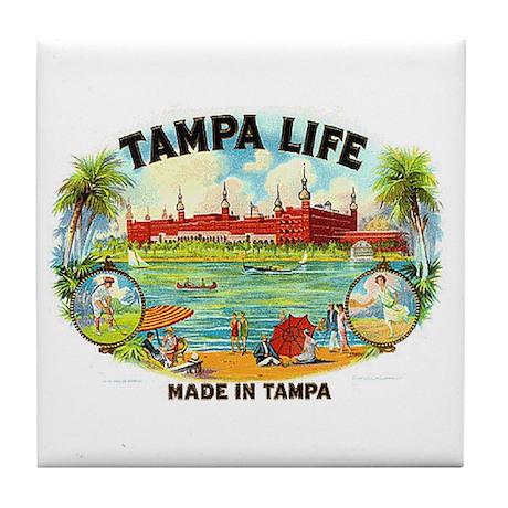 Tampa Life Vintage Cigar Ad Tile Coaster