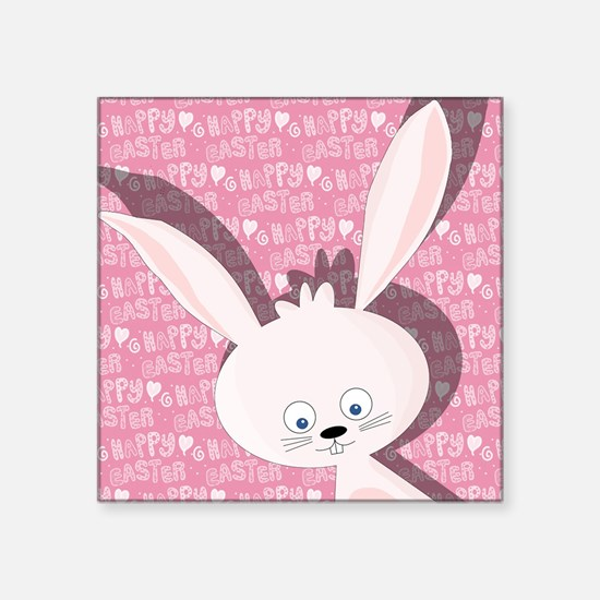 """Cute Happy rabbit Square Sticker 3"""" x 3"""""""