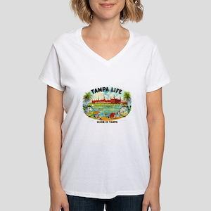 Tampa Life Vintage Cigar Ad Women's V-Neck T-Shirt
