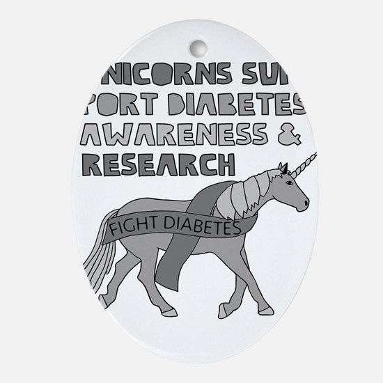 Unicorns Support Diabetes Awareness Oval Ornament