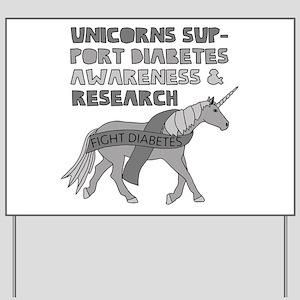 Unicorns Support Diabetes Awareness Yard Sign