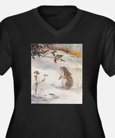 1927 Christmas Bunny Women's Plus Size V-Neck Dark