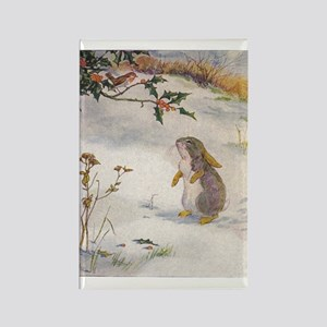 1927 Christmas Bunny Rectangle Magnet