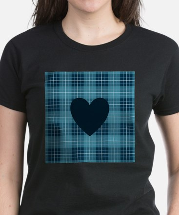 Heart on Blue Plaid I T-Shirt