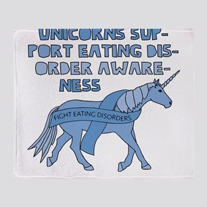 Unicorns Support Eating Disorder Awa Throw Blanket