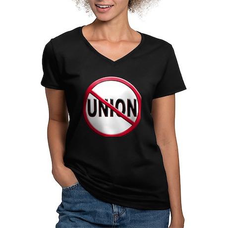 Anti-Union Women's V-Neck Dark T-Shirt