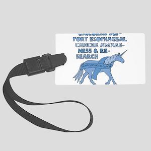 Unicorns Support Esophageal Canc Large Luggage Tag