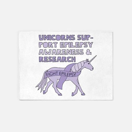 Unicorns Support Epilepsy Awareness 5'x7'Area Rug