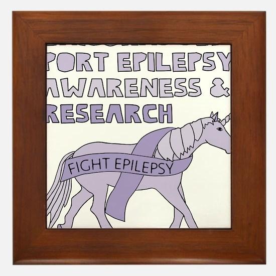 Unicorns Support Epilepsy Awareness Framed Tile