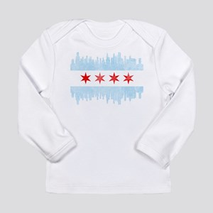 Chicago Skyline Flag Long Sleeve T-Shirt