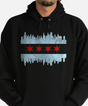 Chicago Skyline Flag Hoodie (dark)
