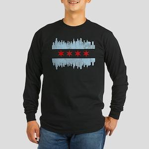 Chicago Skyline Flag Long Sleeve T-Shirt
