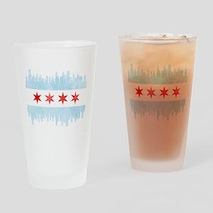 Chicago Skyline Flag Drinking Glass