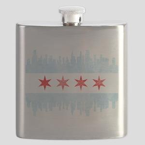 Chicago Skyline Flag Flask