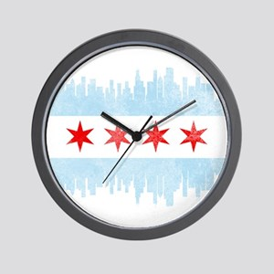 Chicago Skyline Flag Wall Clock