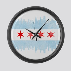 Chicago Skyline Flag Large Wall Clock