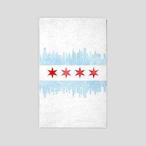 Chicago Skyline Flag Area Rug