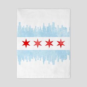 Chicago Skyline Flag Twin Duvet