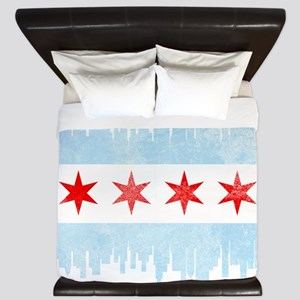 Chicago Skyline Flag King Duvet