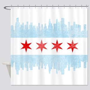 Chicago Skyline Flag Shower Curtain