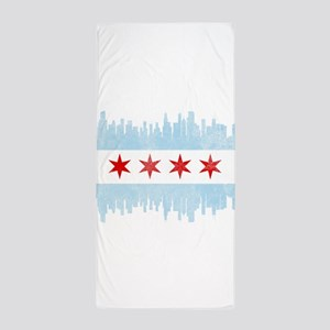 Chicago Skyline Flag Beach Towel