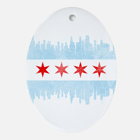 Chicago Skyline Flag Oval Ornament
